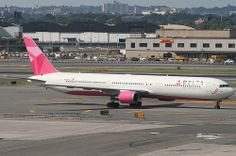 DELTA BOEING 767 (767-400), N845MH, Breast Cancer Awareness colors, at JFK, New York, USA. July, 2010
