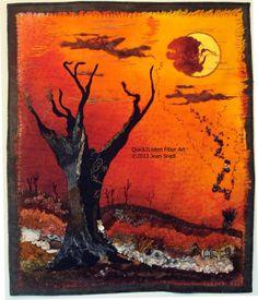 Art Quilt  RED OCTOBER textile fiber art by Quick2ListenFiberArt, $250.00