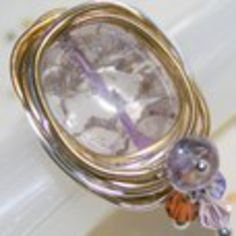 "Huge Amethyst Crackle Crystal  ""Bird Nest"" Ring in Two Tone Silver & Gold Szs 5 - 10 by Maru"