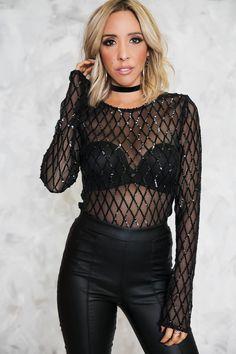 Black Diamond Sequin & Mesh Bodysuit