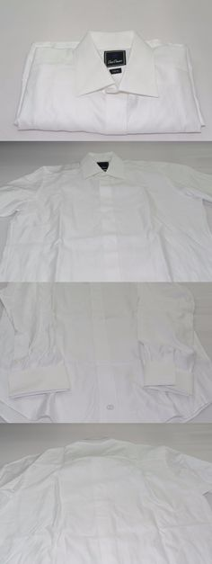 $275 Michelsons Men Classic-Fit French-Cuff White Tuxedo Dress Shirt 15 32//33 M