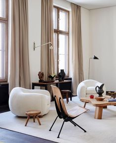 for home Berlin Apartment of Emmanuel De Bayser featuring Ours Polaire (Polar Bear) sofa by Jean Royere and the chairs by Jean Prouve. Best Interior Design, Home Design, Interior Decorating, Modern Design, Decorating Ideas, Design Ideas, Decorating Websites, Luxury Interior, Minimalist Design