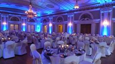 Wedding lighting at Greysolon Ballroom. Duluth, MN Up lighting in blue with extra UV blacklight added in. Stars and Northern Lights on ceiling. Duluth Event Lighting. www.dulutheventlighting.com Bridal lighting, Reception lighting Wedding photography.