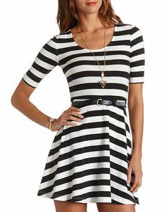 67f0cf3f44 Striped   Belted Skater Dress  Charlotte Russe