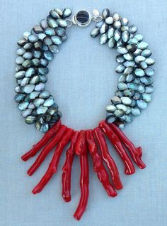 Black Lipped Shell, Red Coral Rae Ann Creations