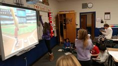 5th graders learning how to create fractions decimals and percents as they play Wii Baseball.  #byrampride