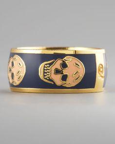 Alexander McQueen Skull Enamel Ring, Navy/Blush