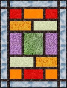 A very quick quilt for fabulous fat quarters. This would make it easy to showcase big print fabrics, like Asian brocades and such. for dad's jvtv quilt Quilting Tutorials, Quilting Projects, Quilting Designs, Sewing Projects, Quilting Tips, Big Block Quilts, Quilt Blocks, Colchas Quilt, Quilt Top