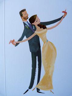 Wedding Illustration, bride groom painting