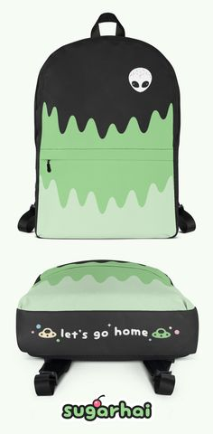 Aesthetic backpacks for aliens. Green slime with pastel UFOs and candy balls. Click to know more.