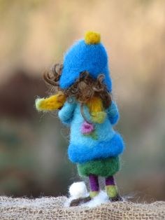 Needle felted Waldorf inspired girl holding door Made4uByMagic