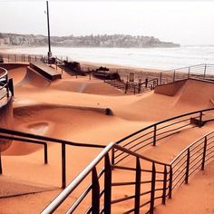 The skatepark at Bondi Beach filled with sand from #SydneyStorm. Photo via  @MikePuncheon