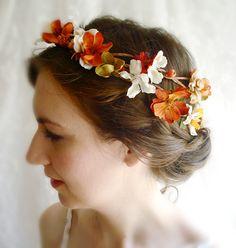 autumn harvest hair wreath  HARVEST WEDDING  by thehoneycomb
