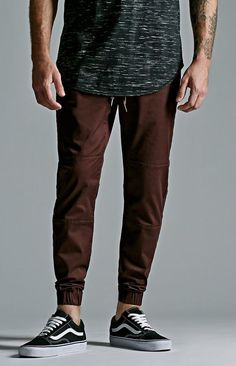 $49, Bullhead Denim Co Burgundy Knee Panel Skinny Jogger Pants. Sold by PacSun. Click for more info: https://lookastic.com/men/shop_items/296711/redirect