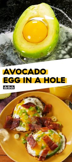 If you're trying to eat low carb, you need this Avocado Egg-In-A-Hole for breakfast 🥑 Get the recipe at Delish.com. #recipe #easy #easyrecipes #bacon #eggs #breakfast #brunch #avocado #cheese #brunchrecipes #breakfastrecipes #lowcarb #lowcarbrecipes #lowcarbdiet