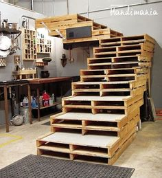Stairs made from wooden pallets.