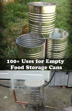100 Uses for Empty Food Storage Cans 100 Uses for Empty Food Storage Cans Every day we purchase many things which come in either bottles or containers. Many of us throw away these containers Emergency Preparation, Emergency Food, Emergency Preparedness, Camping Survival, Urban Survival, Survival Tips, Tin Can Crafts, Metal Crafts, Recycle Cans
