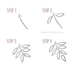Easy Flower Drawings, Flower Drawing Tutorials, Easy Drawings, Leaf Drawing Easy, Nature Drawing, Plant Drawing, Sketching Tips, Drawing Tips, Drawing Techniques