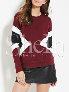 Shop Burgundy Crew Neck Contrast Panels Sweatshirt online. SheIn offers Burgundy Crew Neck Contrast Panels Sweatshirt & more to fit your fashionable needs.
