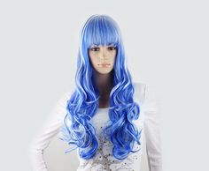 Long curly Wig  Blue wig with White hightlight Katy by Wigglywigs