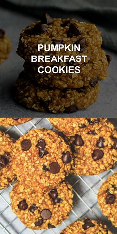 Pumpkin Breakfast Cookies – Deliciously soft, chewy, and healthy banana cookies that are loaded with pumpkin puree, oats, and chocolate chips. These banana pumpkin cookies are the perfect autumn/fall breakfast or snack! Pumpkin Puree Recipes, Pureed Food Recipes, Banana Recipes, Keto Recipes, Cookies Healthy, Healthy Sweets, Pumpkin Breakfast Cookies, Pumpkin Oatmeal Cookies, Pumpkin Bread