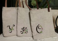 #initial #embroidery #simple#bag
