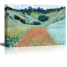 Poppy Field in a Hollow near Giverny by Claude Monet  Canvas Print Wall Art Famous Painting Reproduction  24 x 36 *** Be sure to check out this awesome product.Note:It is affiliate link to Amazon.