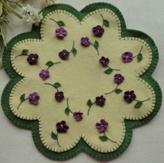 """Forget-Me-Nots Wool Applique Candle Mat Pattern- Violets """"Summertime Violets"""" http://www.cathspenniesdisigns.com"""