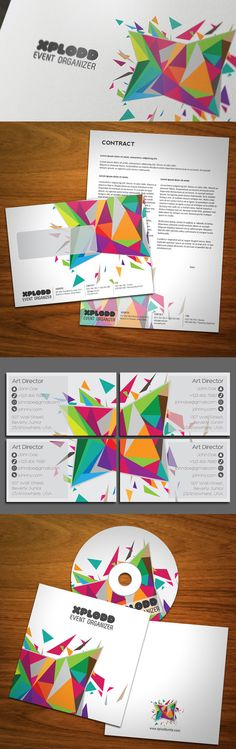 Color Explosion Stationery by KaixerGroup on deviantART Business Card Design, Business Cards, Brian Harris, Event Organiser, Branding, Art Director, Graphic Design Inspiration, Stationery, Typography