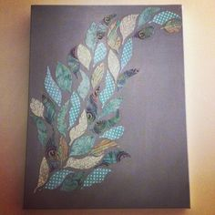 Scrapbook+Paper+On+Canvas | from scrapbook paper. Painted canvas. Mod podge feathers onto canvas ...