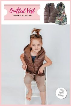 Quilted Vest sewing pattern (1mth-10yrs). This is a quick and easy-to-make sewing project. It's a very popular pattern, at a good price, which makes a great-looking padded vest that will help you keep your little ones warm. The sewing pattern includes fourteen sizes from 1 month to 10 years. Boys Sewing Patterns, Sewing For Kids, Baby Patterns, Youtube Sewing, Kids Tops, Vest Pattern, Party Tops, Modern Kids, Quilted Vest