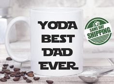 yoda mug yoda best dad yoda best dad ever star wars dad best dad mug yoda best dad mug best dad ever daddy mug yoda birthday gift star wars coffee mug gift for dad dad mug dad birthday gift  This cute design will be printed on best quality Grade A fully white Mugs or Mugs with black handle. If you prefer, we can print design on one side and special message on the other side. Kindly specify in order notes. We use dye sublimation and heat transfer technique to print the design on the mugs…