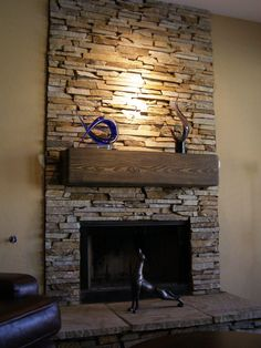 Stack Stone Fireplace Surround                                                                                                                                                                                 More