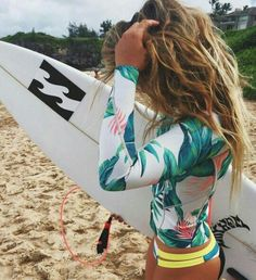 Swimwear: surf, bikini, patterned swimwear, tropical, palm tree print, wavy hair, summer sports - Wheretoget