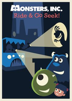 Monsters Inc Ride & Go Seek Poster by Rob yeo