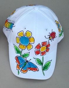 Pretty Posies Baseball Cap for Women and kids by DeborahWillardDesign on Etsy Kids Baseball Caps, White Baseball Cap, Fabric Painting On Clothes, Painted Clothes, Painted Hats, Hand Painted, Crafts For Teens, Diy For Kids, Cap Decorations