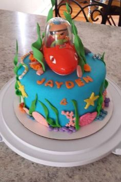 Octonauts cake - make the cake an ocean scene, buy the Gup toy and use it as a decoration on top!