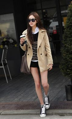 white button-down + striped sweater + coat + sneakers (converse) : (fall outfit) Ulzzang Fashion, Asian Fashion, Girl Fashion, Fashion Outfits, Womens Fashion, Fashion Trends, Fashion Clothes, Style Fashion, Fashion Shoes