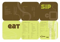 """COFFEE ISLAND: Final update on menu design by Jaimini Mistry. #typography #menu #design #restaurant I really like the style of this menu. The colors are great and it has a fresh, modern look. The simple titles """"eat"""" and """"sip"""" are wonderful. The simple graphics are perfect. The 6 panel layout is unique. Love it!"""