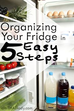 Is your refrigerator always a mess? Check out how to Organize your fridge in 5 easy steps and keep it that way for good! Refrigerator Organization, Clutter Organization, Kitchen Organization, Organization Ideas, Organizing Life, Household Cleaning Tips, Diy Cleaning Products, Cleaning Hacks, Fridge Cleaning