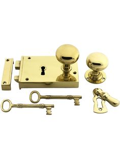 Large Colonial Brass Rim Lock With Solid Brass Knobs   House of Antique Hardware. Baldwin Brass.
