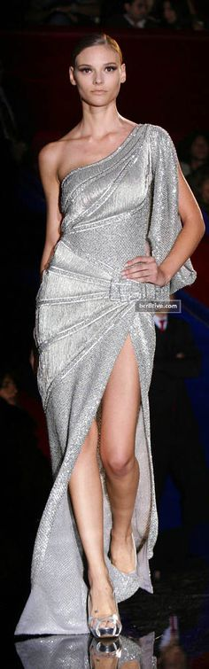 Evening gown, couture, evening dresses, formal and elegant Elie Saab -- Sexy Silver Gown
