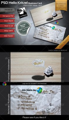 Kritzel Business Card Template by Wasserblau INFO : Nice Businesscard with realistic photo backgrounds. Open for many jobs and business. Simple and easy to use with smart-obje Paper Video, Business Card Psd, Event Flyer Templates, Photo Backgrounds, Print Templates, Easy To Use, Graphic Design, Design Art, Paper Texture