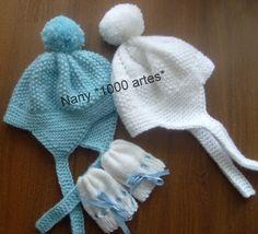 Gorros e Luvas para bebês - em tricô - 1000 Artes