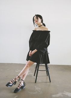 Gathered Tiered Dress (Black) | STYLENANDA @blackswanballet
