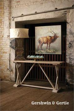 Farmhouse Wooden Console Table: