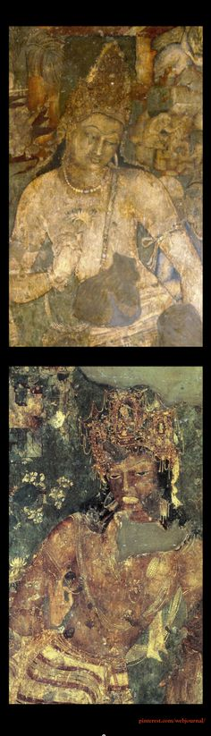 Padmapani and Vajrapani from Ajanta Cave paintings, India 2nd C. BCE - 5th C.   The clothing and accessories can be seen today; stacks of women's  forearm bangles of the Banjara tribe who live in these hills; their dupattas decorated with fringes of taarkaam or Paithani still popular in Maharastra today;  the fish-scale kham textiles of the hunters in the Shyam Jataka.