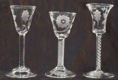 English engraved glasses. 18th century