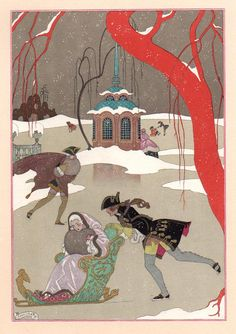 Skating by George Barbier in Les Fêtes Galantes de Paul Verlaine, illustrations de George Barbier