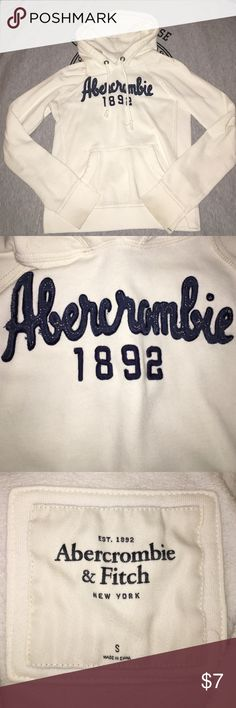 White Abercrombie & Fitch Hoodie 🕸 Selling a white Abercrombie &a Fitch sweatshirt. Definitely has been worn a lot so has wear and tear, but still in good condition. It is 60% Cotton and 40% Polyester. Size is small and is true to size. Selling because I have too many sweatshirts and need to get rid of a lot so check out my other ones too! Price on this one is firm. 🕸 Abercrombie & Fitch Tops Sweatshirts & Hoodies